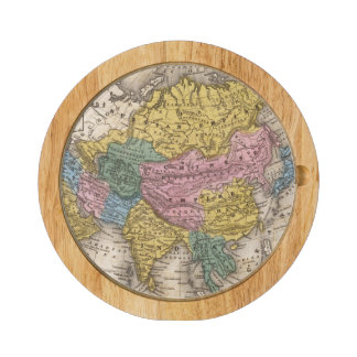 Map of Asia Round Cheese Board