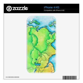 Map of Asia Decal For iPhone 4S