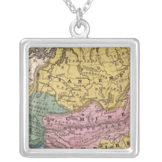 Map of Asia Square Pendant Necklace