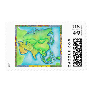 Map of Asia Stamp