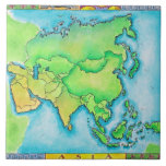 Map of Asia Tile