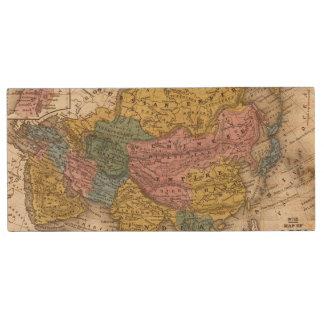 Map of Asia Wood USB 2.0 Flash Drive
