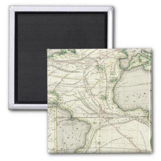 Map of Atlantic Ocean 2 Inch Square Magnet