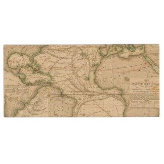 Map of Atlantic Ocean Wood USB 2.0 Flash Drive