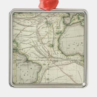 Map of Atlantic Ocean Metal Ornament