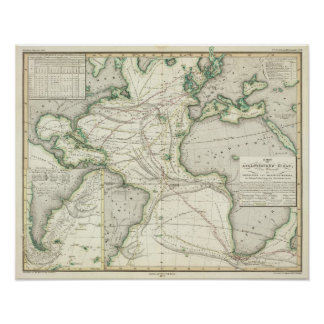 Map of Atlantic Ocean Poster