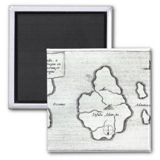 Map of Atlantis, from 'Mundus Subterraneus' 2 Inch Square Magnet
