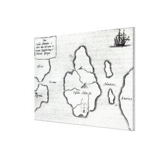 Map of Atlantis, from 'Mundus Subterraneus' Canvas Print