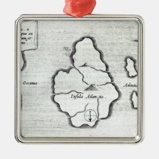 Map of Atlantis, from 'Mundus Subterraneus' Metal Ornament