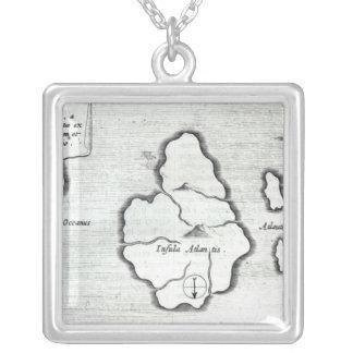 Map of Atlantis, from 'Mundus Subterraneus' Square Pendant Necklace
