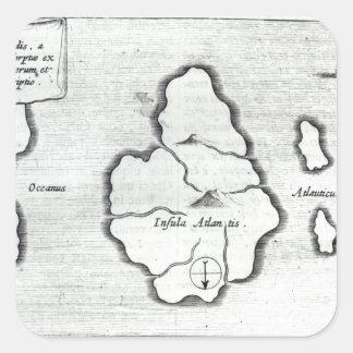 Map of Atlantis, from 'Mundus Subterraneus' Square Sticker