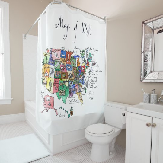 Map Of Attractions Of United States Of America Shower Curtain