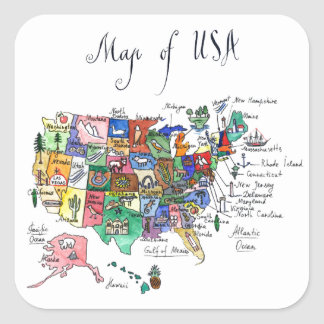 United States Map Stickers Zazzle - Sticker us map
