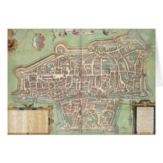 Map of Augsburg, from 'Civitates Orbis Terrarum' b Card