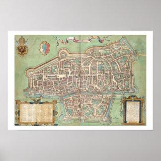 Map of Augsburg, from 'Civitates Orbis Terrarum' b Poster