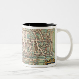 Map of Augsburg, from 'Civitates Orbis Terrarum' b Two-Tone Coffee Mug