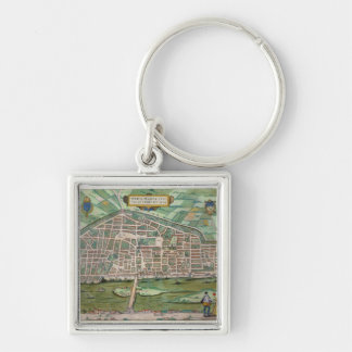 Map of Aurelia, from 'Civitates Orbis Terrarum' by Silver-Colored Square Keychain