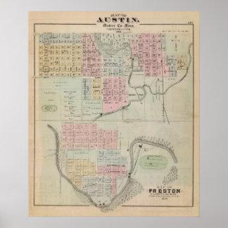 Map of Austin, Mower County, Minnesota Poster