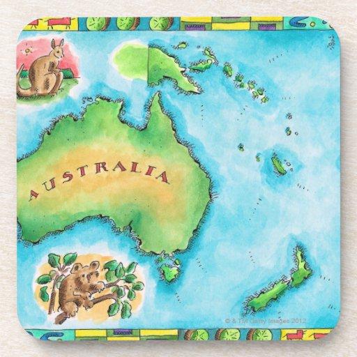 Map of Australia 2 Beverage Coaster