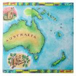 Map of Australia 2 Large Square Tile