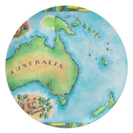 Map of Australia 2 Party Plate