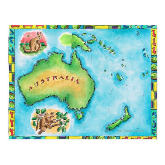 Map of Australia 2 Postcard