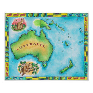 Map of Australia 2 Posters