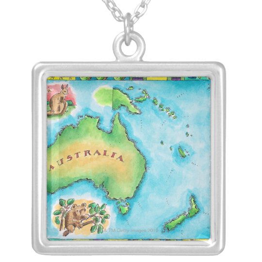 Map of Australia 2 Silver Plated Necklace