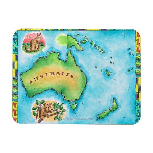 Map of Australia 2 Vinyl Magnets
