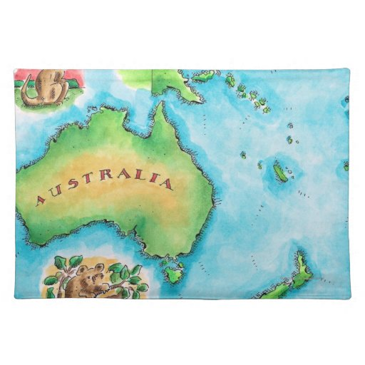 Map of Australia Cloth Placemat