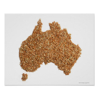 Map of Australia made of Glutinous Rice Poster