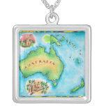 Map of Australia Square Pendant Necklace