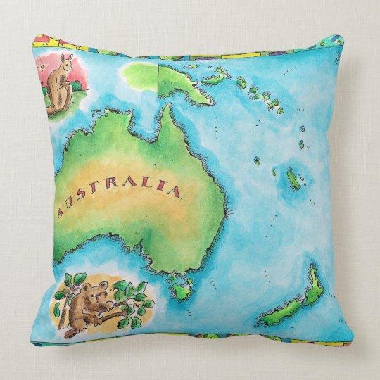 Map of Australia Throw Pillow