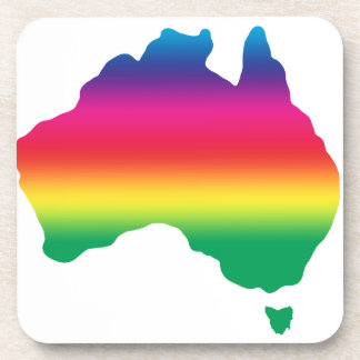 Map of Australian filled with rainbow colours Beverage Coaster