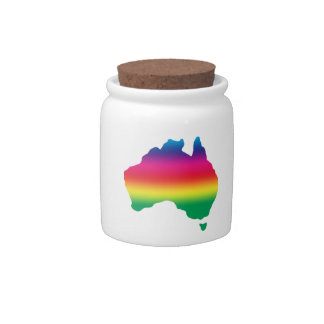 Map of Australian filled with rainbow colours Candy Jar