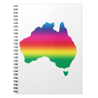 Map of Australian filled with rainbow colours Notebook