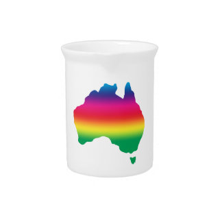 Map of Australian filled with rainbow colours Beverage Pitcher