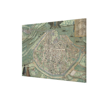 Map of Avignon, from 'Civitates Orbis Terrarum' by Canvas Print