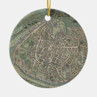Map of Avignon, from 'Civitates Orbis Terrarum' by Ceramic Ornament