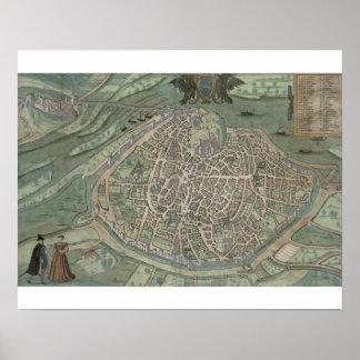 Map of Avignon, from 'Civitates Orbis Terrarum' by Poster