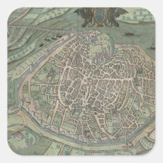Map of Avignon, from 'Civitates Orbis Terrarum' by Square Sticker