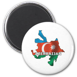 Map of Azerbaijan 2 Inch Round Magnet