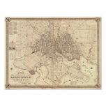 Map of Baltimore 1851 Poster