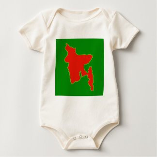 Map of Bangladesh with in red and green colors Baby Bodysuit