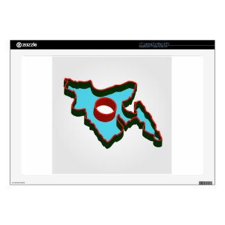 "Map of Bangladesh with in red and green colors Decal For 17"" Laptop"