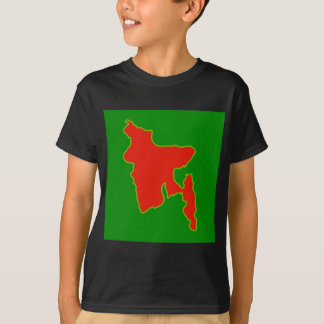 Map of Bangladesh with in red and green colors T-Shirt
