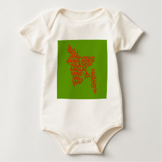 Map of Bangladesh with text inside Baby Bodysuit