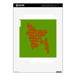 Map of Bangladesh with text inside Skin For iPad 3