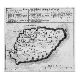 Map of Barbados Poster