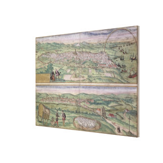Map of Barcelona, from 'Civitates Orbis Terrarum' Canvas Print